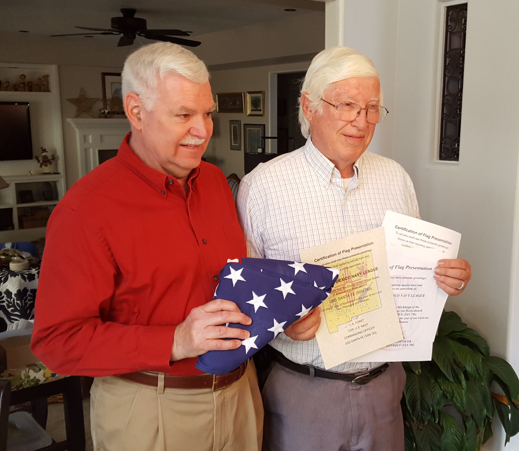 Dick Brown receives rare flag 12Oct16.jpg
